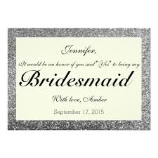will you be my bridesmaid invitations silver glitter will you be my bridesmaid invite zazzle