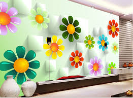 3d Wallpaper For Bedroom Custom 3d Wallpaper Colorful Flowers And Box For The Living Room