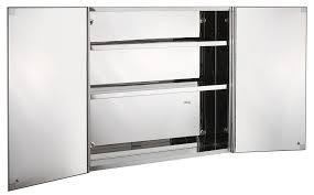 Stainless Steel Double Door Wall Mount Bathroom Cabinet Storage - Bathroom cabinet mirrored