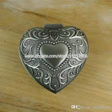 jewelry box favors 2018 antique heart hinged metal jewelry box alloy pewter carving