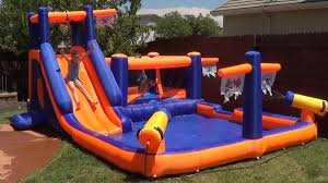blast zone pirate bay inflatable water park review youtube