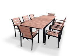Cheap Patio Dining Sets - 9 piece eco wood extendable outdoor patio dining set weathered