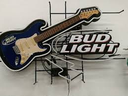 bud light neon light bud light guitar neon sign august sin auction beer alcohol and