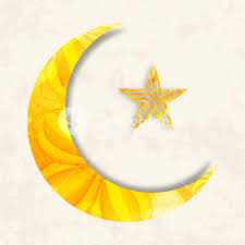 beautiful big crescent moon and with islamic