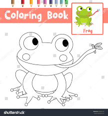 coloring frog eating fly animals stock vector 683349127
