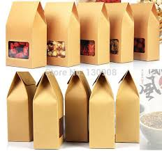 paper kraft paper cookie boxes with clear window size 8 5 15 5cm