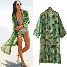green womens blouse womens green leaf print jacket chiffon blouses kimono cardigan