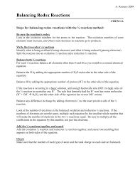 balancing redox equations worksheet jennarocca