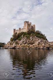 view of the beautiful almourol castle located on a small island