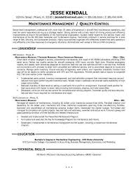 maintenance manager resume sample maintenance manager resume