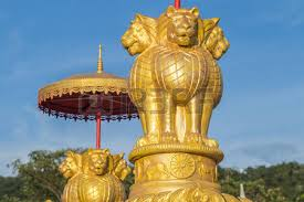 gold lion statue gold lion statue asian thailand stock photo picture and royalty