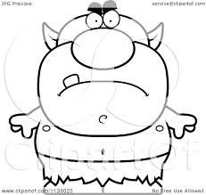 cartoon clipart of a black and white mad goblin vector outlined