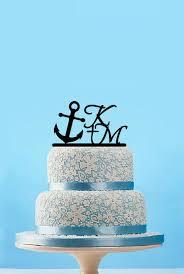 nautical cake toppers custom initial name cake topper nautical cake toppers with anchor
