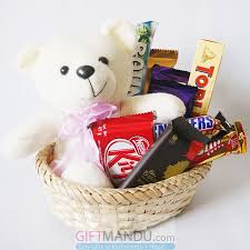 Send Gift Basket Happy Teddy Bear With Chocolates Basket 10 Items Send Gifts To