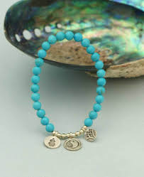 bracelet with charm images 3 charm turquoise bead bracelet with hill tribe silver jpg