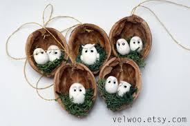 owl ornament set rustic decorations animal ornament