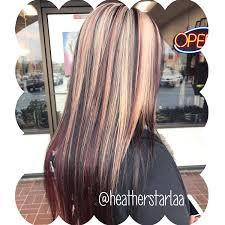 blonde hair with chunky highlights blonde hair red highlights straight hair layered hair red hair