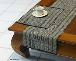 mendong table runner and placemats set for 4 monochrome grid