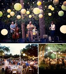 simple backyard wedding decorations with large round tables and