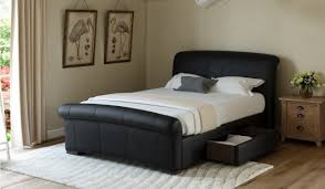 Faux Bed Frame Santino Black Faux Leather Bed Frame Bensons For Beds
