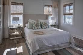 Royal Blue And White Rug Gray Linen Bed With Blue Rug Transitional Bedroom