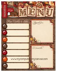 my computer is my canvas freebie thanksgiving day menu printable