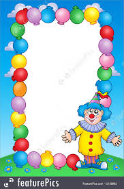 templates party invitation frame with clown 2 stock