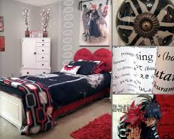 black red and white boy u0027s bedroom design idea with japanese