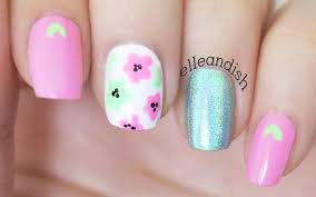 easy pink u0026 mint flower nails for spring youtube