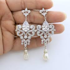 and pearl chandelier earrings wedding chandelier earrings bridal earrings bridal