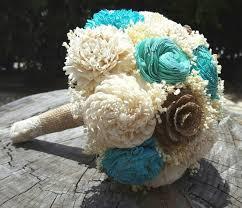 Shabby Chic Bridal Bouquet by Sola Bouquets Burlap Lace Blue Pale Turquoise Bouquet Wedding