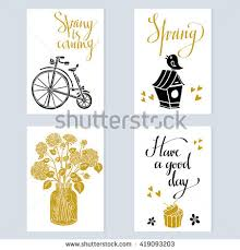 Cake Vase Set Spring Card Design Set Isolated Vintage Stock Vector 389017270