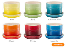 our bright and beautiful herb planters le creuset