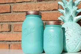 aqua u0026 copper hand painted ball mason jar home centerpieces