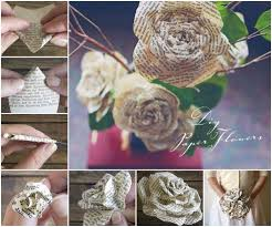 wonderful diy paper roses from book pages