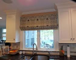 Flat Roman Shades - kitchen flat roman shade with apron mounted above the window