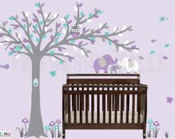 Purple Wall Decals For Nursery Blowing Tree Wall Decal Baby Elephant Wall Decal Nursery