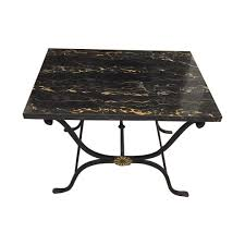 French Marble Dining Table French Art Deco Wrought Iron And Portoro Marble Table On The Highboy