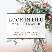 made to match book in lieu of card bring a book instead of