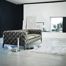 Grey Leather Tufted Sofa Comfortable Classic Sofa Design For Beautiful Interior Design