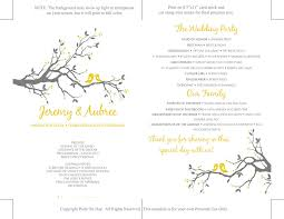 Wedding Program Ceremony Love Bird Wedding Fan Template Sunshine Yellow Smoke Gray