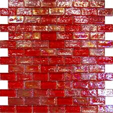 1sf red iridescent subway glass mosaic tile backsplash kitchen spa