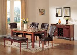 acme bologna 6 pc marble top rectangular dining table set in brown