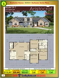 Modular Floor Plans With Prices by Aristocrat Rochester Modular Home Ranch Model Er 7 Plan Price