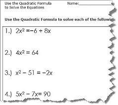all worksheets quadratic equation worksheets free printable