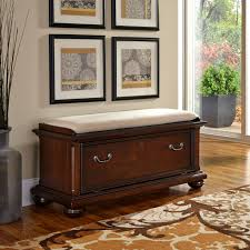 home styles colonial classic upholstered storage bench dark
