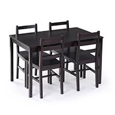 amazon com ikayaa modern 5pcs dining table set pine wood kitchen