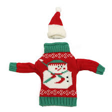 christmas knitted sweater lid hat wine bottle cover wrap bag xmas