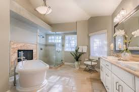 Spa Like Master Bathrooms - los angeles apartment sized sectional bathroom transitional with