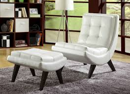 White Leather Wingback Chair Furniture Fascinating Accent Chair With Ottoman Perfecting Your